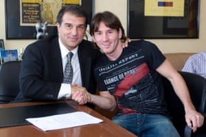 Joan Laporta with Leo Messi after the forward signed a contract extension in 2009.