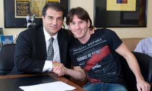 Joan Laporta, pictured with Lionel Messi after extending the player's deal and increasing the buyout clause in 2009, says: 'Of course he could do it in England. He has a gift. He could do it covered in mud in the pouring rain.'