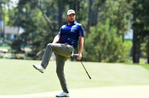 Marc Leishman reacts to a missed putt for a birdie on the 1st during the third round