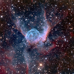 <strong>Thor's Helmet (NGC 2359)</strong> The distinctive shape of the nebula NGC 2359 has led to it also being known as Thor's Helmet, as it resembles the headgear of the Norse God (and Marvel superhero). Around 11,000 light years away, the overall bubble shape is mainly due to interstellar material swept up by the winds of the nebula's central star, Wolf-Rayet, an extremely hot giant thought to be in a pre-supernova stage