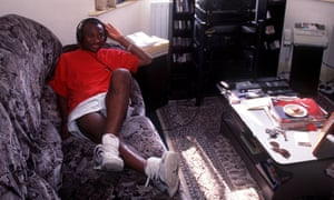 Peter Ndlovu relaxes at home in Coventry in the mid-1990s.