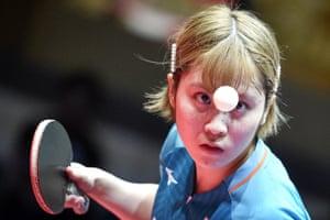 Olomouc, Czech Republic: Miu Hirano of Japan in action during her women's singles quarter-final match at the Czech Open table tennis tournament