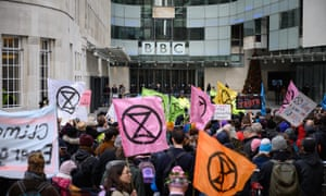 Extinction Rebellion's protest outside the BBC in London.
