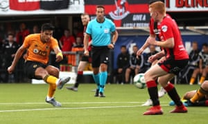 Wolverhampton Wanderers' Raúl Jiménez scores his side's third goal of the game against Crusaders in the Europa League.