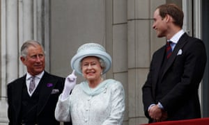 Prince Charles, Queen Elizabeth II and Prince William stand on the balcony at Buckingham Palace during the Diamond Jubilee celebrations in 2012.