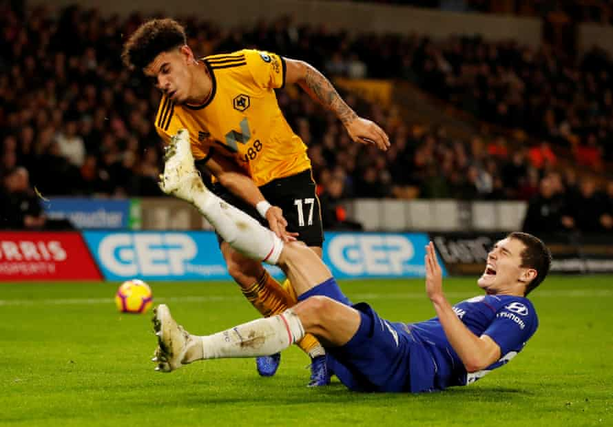 Wolves teenager Morgan Gibbs-White tangles with Andreas Christensen during a superb full Prmeir League debut.