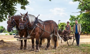 Ploughing their own furrow: Parry and Killander with horses Bill and Ben, at Cooks Pen Farm, Cambridgeshire.