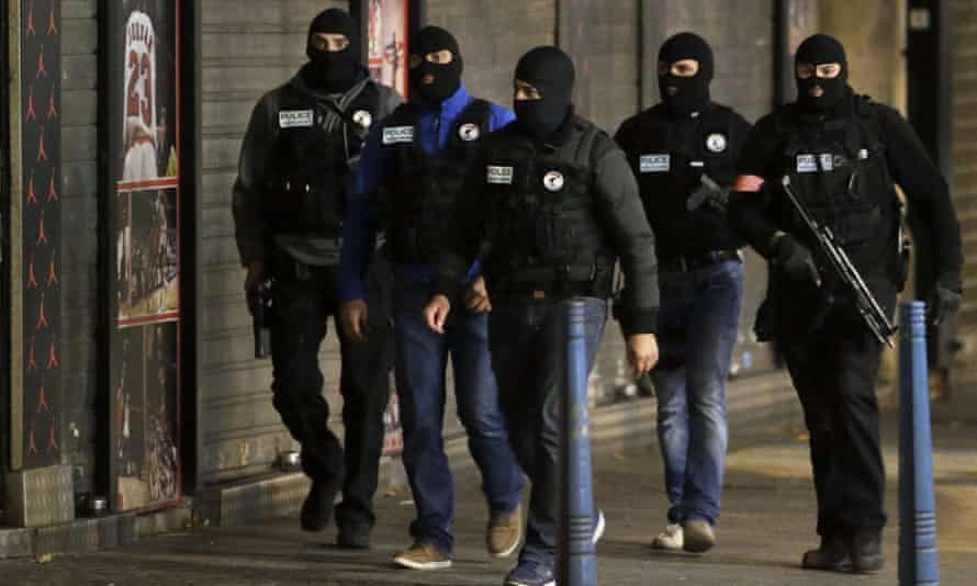Police patrol in the northern Paris suburb of Saint-Denis.
