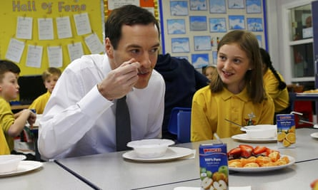 George Osborne eats with pupils at St Benedict's Catholic primary school in Garforth, West Yorkshire