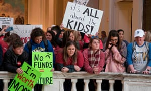 Kids join teachers at a rally at the state capitol in Oklahoma City on 4 April.