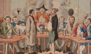In a picture from two or three centuries ago two mens one with a huge red nose the other with a jutting jaw face each other standing on stools surrounded by a curved table on which men are drinking and laughing