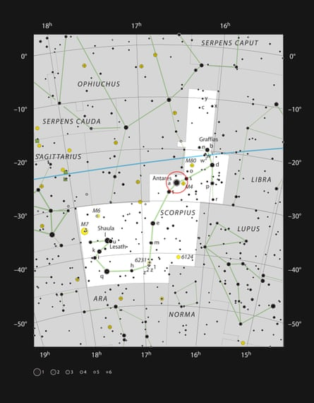 This chart shows the prominent constellation of Scorpius. At the heart of this very striking grouping of stars lies Antares.