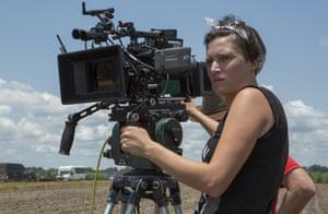 Cinematographer Rachel Morrison on the set of the film Mudbound.