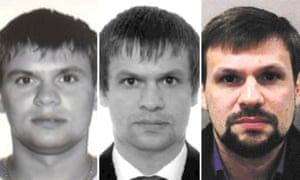 Photo issued by Bellingcat of Anatoliy Chepiga's passport photo from 2003 (l), Boshirov's passport photo from 2009, and recent Met police handout of Boshirov