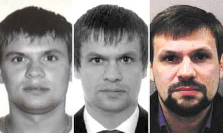 Anatoliy Chepiga's passport photo from 2003, left; Ruslan Boshirov's passport photo from 2009, centre; and Metropolitan Police handout of Russian national named as Ruslan Boshirov.