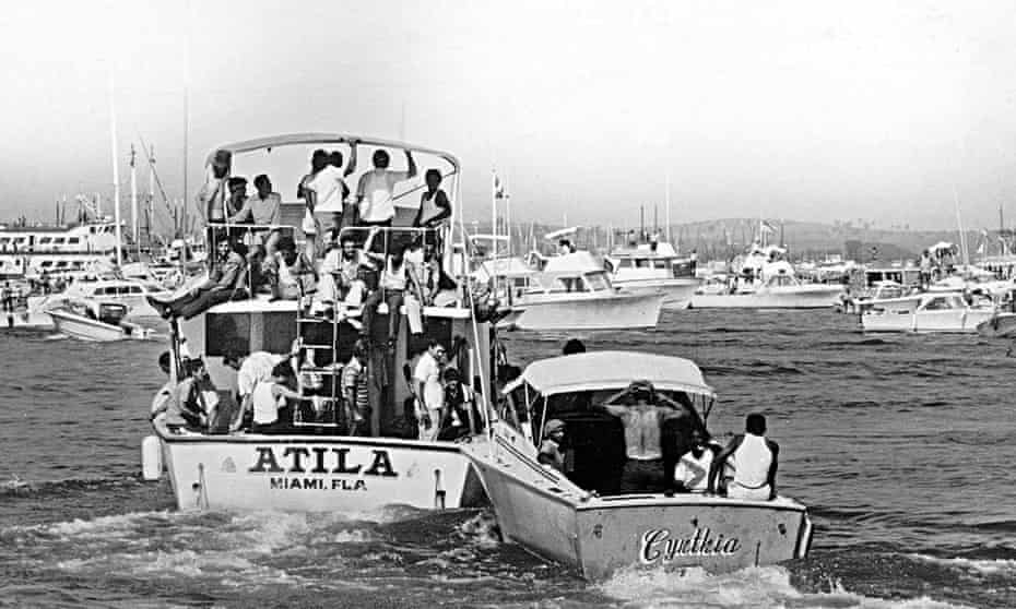 'Migrants do not steal the natives' jobs': boats leaving Cuba for Miami in May 1980
