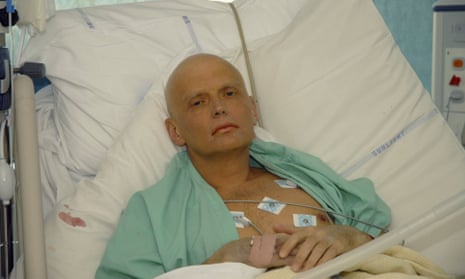 Alexander Litvinenko on his hospital bed after being poisoned in London in 2006.