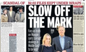 The Daily Mirror headlines the decision to withhold files on Mark Thatcher.
