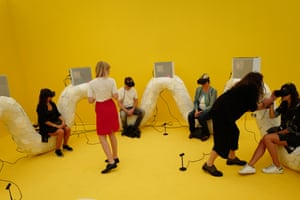 A virtual reality installation at the Frieze 2016 art fair.