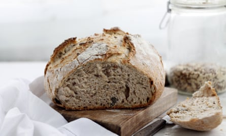 Sourdough bread, leavened with naturally occurring rather than commercial yeast.