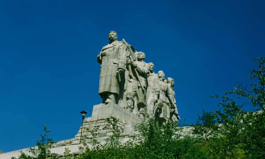 The Stalin monument in Letná park, Prague. It was unveiled in 1955 and destroyed in 1962.