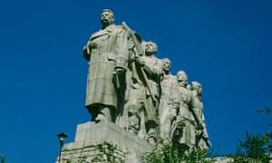 The Stalin statue in Letná Park in Prague pictured around 1960