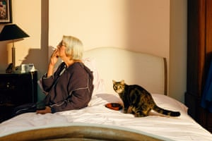 Portrait: Lynn Barber With Tyger, by Charlie Clift'I was asked to photograph Lynn Barber with her cat, Tyger, for the Sunday Times magazine. True to Lynn's warning, Tyger did not want to be photographed. We managed to get one appearance on set thanks to Dreamies cat treats, but once Tyger had had her fill, no treats, toys or cat-herding would get her to perform again