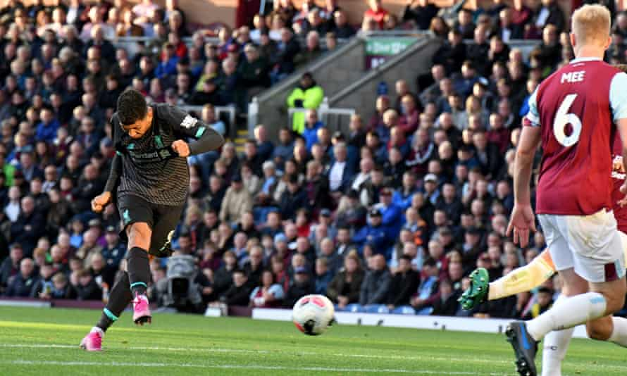 Roberto Firmino shows excellent technique as he fires home Liverpool's third goal in the victory against Burnley at Turf Moor.