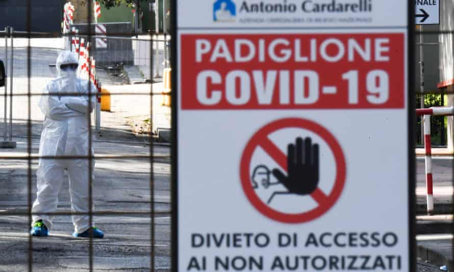 A warning sign at Cardarelli hospital in Naples in early April.