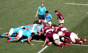 Uruguay and Georgia players in a scrum