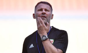 Ryan Giggs at a training session before his first game as Wales manager, against China on Thursday.