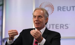 Tony Blair speaking at an event at Thomson Reuters in London