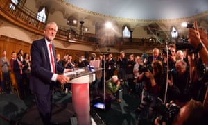 Jeremy Corbyn speaking at Church House in Westminster, London.