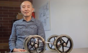 Inventor Shane Chen in his workshop  testing area