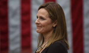 Amy Coney Barrett, in the Rose Garden of the White House.