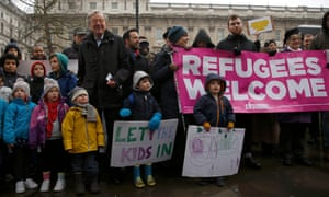 A protest against a clampdown on bringing unaccompanied child refugees to Britain from Europe