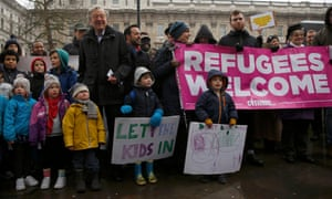Alf Dubs, centre left, with protesters in London last year.