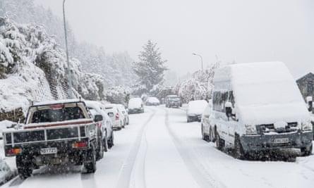 Heavy snow in Queenstown, New Zealand.