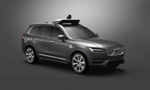 Volvo in Uber livery with self-driving equipment