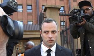 Oscar Pistorius outside the high court in Pretoria during his trial in 2014. He has asked the constitutional court for leave to appeal against his murder conviction.