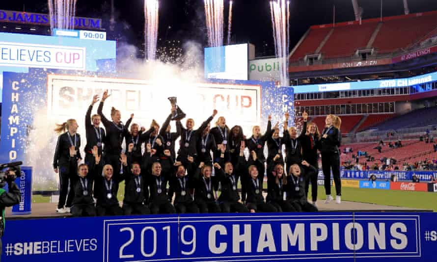 England celebrate winning the SheBelieves Cup.