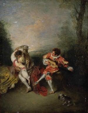 The Surprise by Jean-Antoine Watteau.