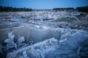 Aftermath of the 2016 wildfire in the suburb of Timberlea, Fort McMurray