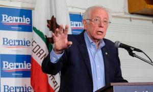 Bernie Sanders in Santa Ana, California, on 21 February.