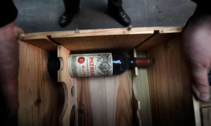 A bottle of Petrus fine wine