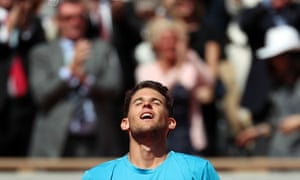 Dominic Thiem celebrates after his win over Novak Djokovic.