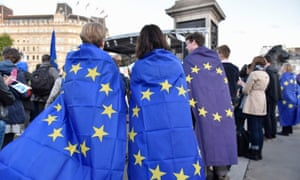 People wearing EU flags at a rally in London in 2017