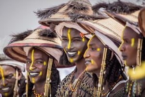 Fulani youths present themselves for the male beauty contest at the Festival Cure Salee in NIger on 16 September