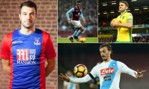 From clockwise: Crystal Palace's new singing Luka Milivojevic; Jordan Ayew who has moved from Villa to Swansea; Robbie Brady, who has gone to Burnley; and new Southampton striker Manolo Gabbiadini.