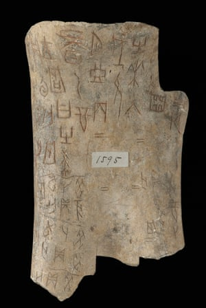 An oracle bone created between 1600 BC and 1050 BC. The inscriptions are still the earliest form of Chinese writing yet discovered.